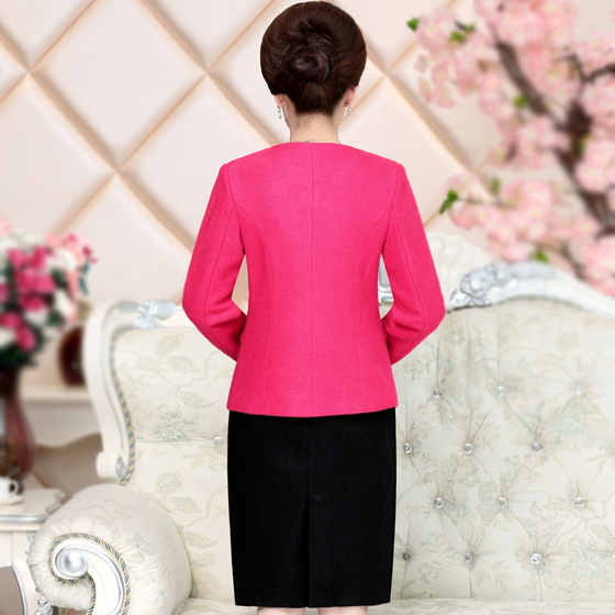 High Quality  Free Shipping New Fashion Women Dress Autumn Winter  Wedding Mid Aged Women Clothing Plus Size Suits Set Slim