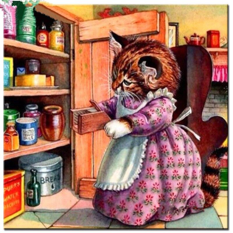 d473bdb445e99 5D Diy ألواح تلوين حرفية لامعة غرزة القط لطهي المنزل ديكور الراين الماس  الفسيفساء Diy الماس التطريز ترصيع الإبرة