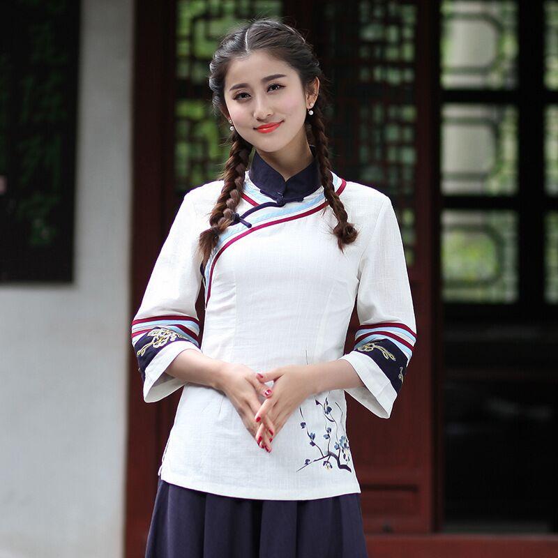 86624b3245b Белый китайский Женская рубашка из хлопка и льна топы воротник-стойка  Блузка Леди Костюмы cheongsam