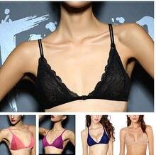 235fa5c5ac5 YANDW Sexy Women Lace Bra Plunge Front Close Mesh Bralette Hollow Lingerie  Triangle A B C D 32 34 36 38 40 42 44 Wholesales