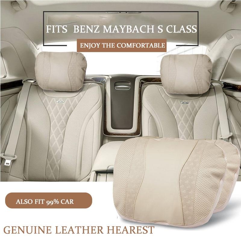 Echtes leder auto kopfstütze nacken kissen neck support kissen für Mercedes Benz mayboch S 300 S400 S500 S600 E200 E300 e320 C200l