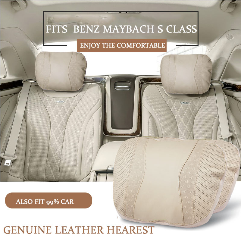Genuine leather car headrest neck pillow neck support pillow for Mercedes Benz mayboch S 300 S400