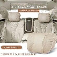 Натуральная кожа автомобиль подголовник шею подушку поддержки для Mercedes Benz mayboch S 300 S400 S500 S600 E200 E300 e320 C200l
