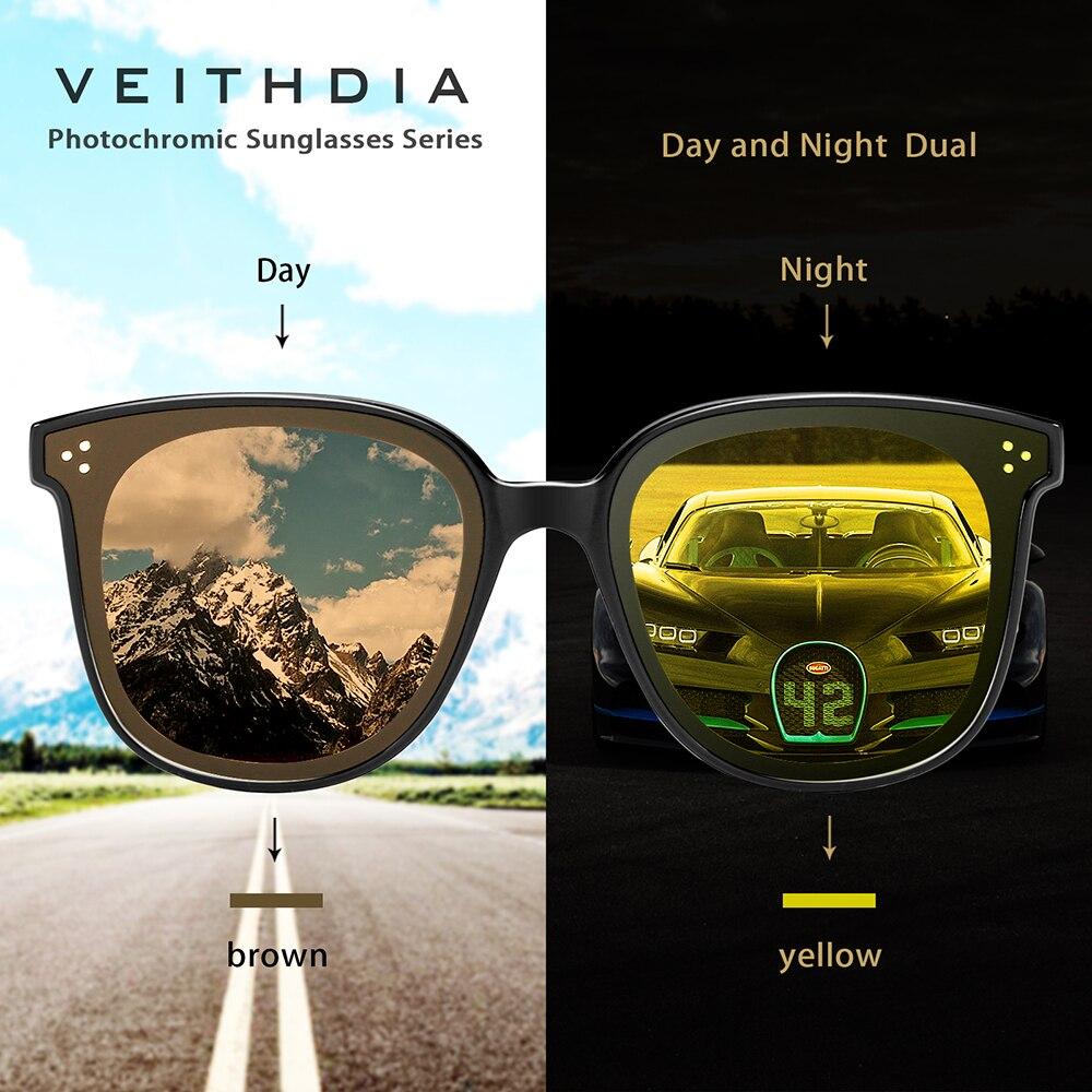 VEITHDIA Brand Vintage Photochromic Womens Sunglasses Polarized Mirror Lens Day Night Dual Sun Glasses Female For Women VT8520