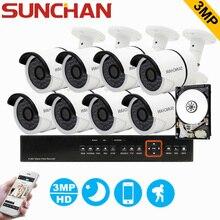 SUNCHAN 8CH 3MP CCTV System HD TVI DVR 8PCS 2048*1536 TVI Security Camera Outdoor CCTV Camera Home Surveillance System with HDD