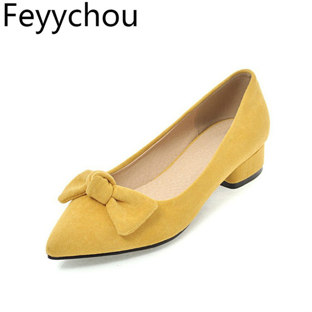 Women Pumps Shoes Low Heel Sexy New Fashion Flock 2018 Spring Autumn Slip on Party Wedding Shoes Yellow Black Beige Pink