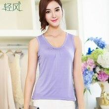Summer Silk Vest Female 42 Pin 100% Superfine 100% Silk Collar Size Fold Loose Sleeveless Shirt