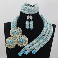 Charming Turquoise African Women Crystal Beads Jewellery Set Nigerian Wedding Silver Flower Handmade Pedant Party Jewelry