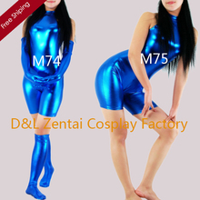 Free Shipping DHL Sexy Adult Events Costume Blue Shiny Metallic Spandex Catsuits for Woman with Gloves and Socks
