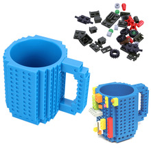 Creative  Build-On Brick Lego Mug Type Building Blocks Lego Frozen Coffee Cup Diy Block Puzzle Mugs 12oz 350ml Christmas Gift