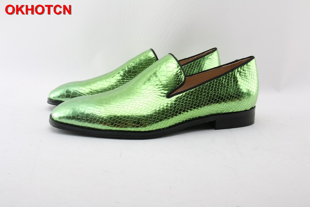Green Men Leather Dress Shoes Square Toe Fish Scale Wedding Party Shoes Slip On OKHOTCN Fashion Casual Flats Plus Size Customize okhotcn fashion gingham men loafers genuine leather casual shoes party wedding dress men s flats daily comfortable leisure shoes