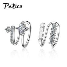Top Vendeur Luxury Ear Clip 925 Sterling Silver Women CZ Cubic Zircon Earrings Korean Personality Simple Student Birthday Gift