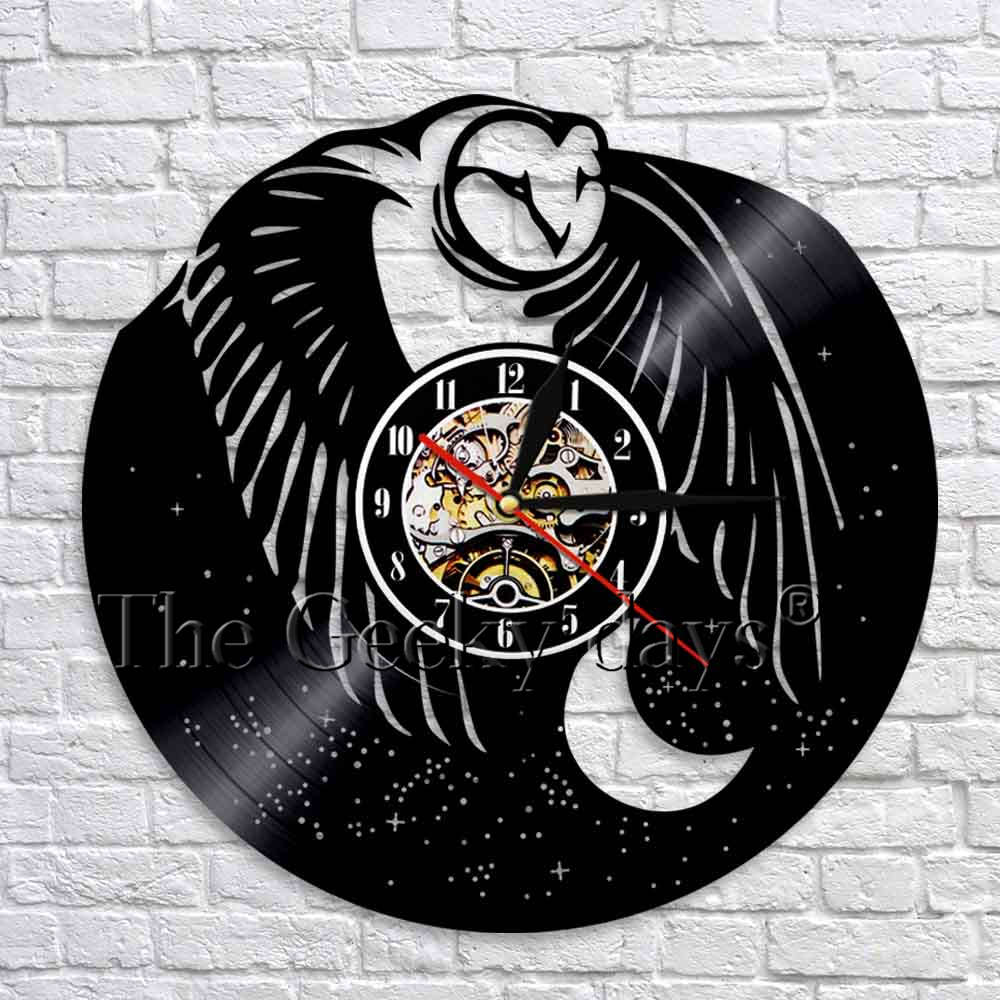 1piece Night Owl Silhouette Wall Clock Animal Owl Vinyl Record