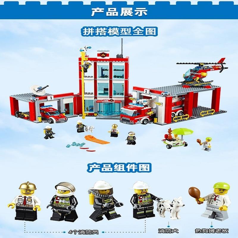 Legoings 60110 958 pièces série de ville la caserne de pompiers modèle bloc de construction brique jouet pour enfants cadeau d'anniversaire 10831 - 3