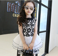 2016 high quality girls clothes dress girl Toddler Baby Girls kids Cartoon Tops+Shorts Pants 2pcs Age 2-7Y girl dress HB1183