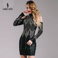 Missord 2015 Sexy Geometric Retro Rhinestone High Necked Long Sleeved Bodycon Tight Dress Velvet Party Dress