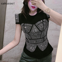 Cakucool Summer Blouse Shirt Women Diamonds Stamping Sleeveless Top Faux two piece Luxury Korea sexy Slim Pull Blusa Tops Femme