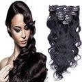 Preto Natural brasileira virgem onda do corpo do cabelo grampo em extensões do cabelo 160 g 7 Pcs grampo em cabelo humano de Remy 200 g grampo no cabelo ondulado