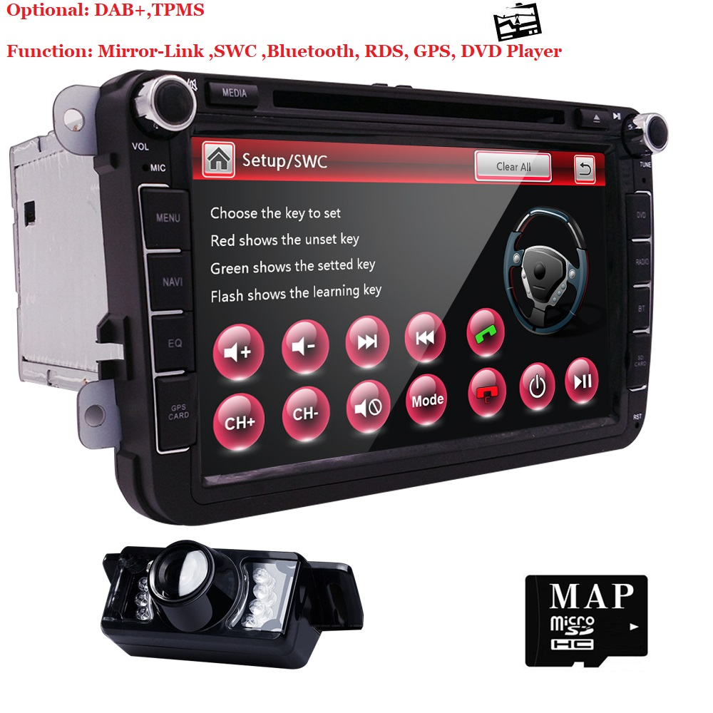 Auto DVD GPS Stereo Per V W/Golf/Tiguan/Skoda/Fabia/Rapido/Seat/ leon/Altea/Skoda multimedia RDS DVR SWC RearCamera MirrorLink DAB +