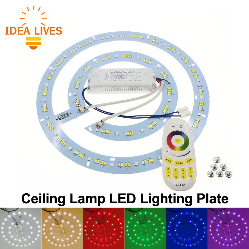 Ceiling Lamp LED Lighting Plate with 2.4G Remote Control Driver RGB + Warm White + White set. rgb 10w led bulb e27 e14 ac85 265v led lamp with remote control led lighting multiple colour