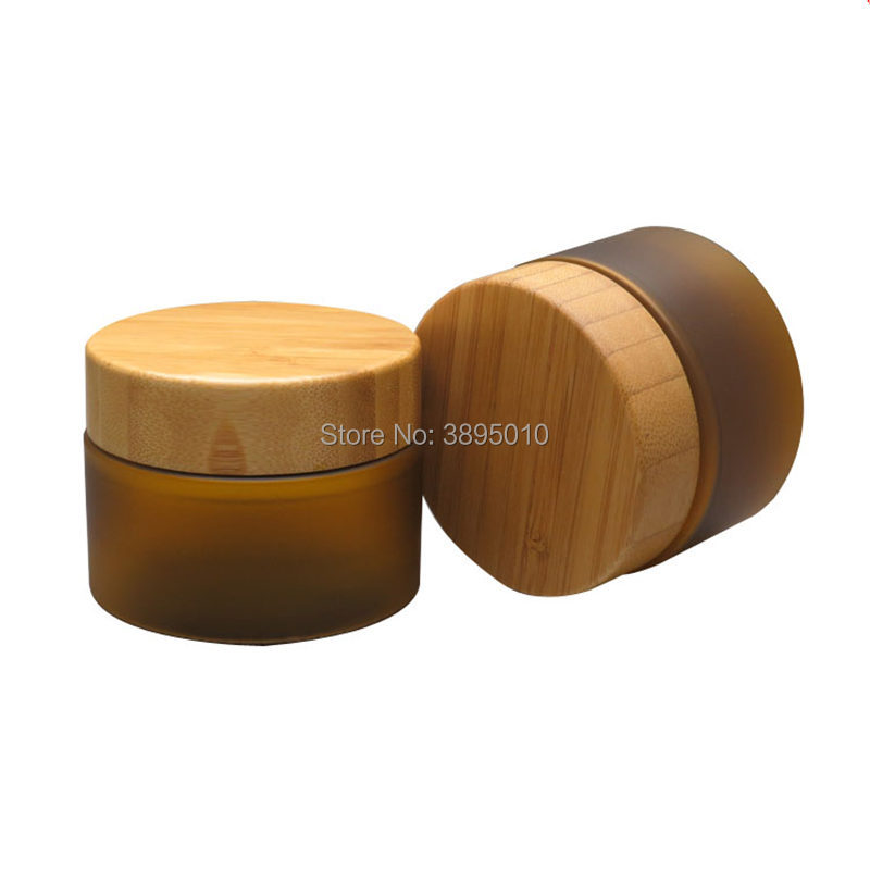 150ml matte brown color PET cream jar with bamboo lid, plastic PET mask cream jar with bamboo cap F388
