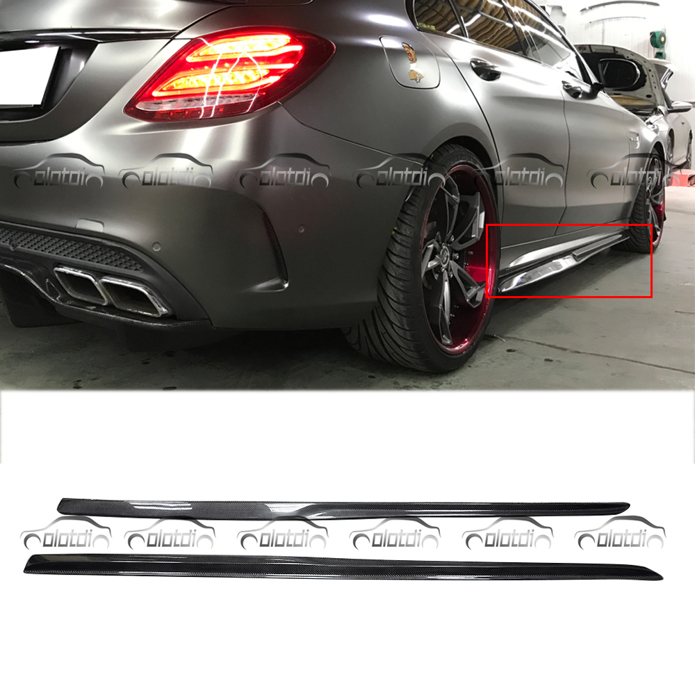 for Mercedes Benz W205 4 Door only C200 C250 C63 PSM Style Carbon Fiber Side Skirts Extension Lip Body Kits Car Styling diffuseur arrière carbone bmw x4 f26