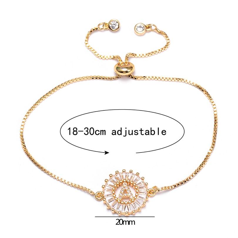 Pipitree, кубический цирконий, 26 алфавит, очаровательный браслет с буквой Femme, медный A-Q, начальная цепочка, браслеты для женщин, ювелирное изделие, регулируемое