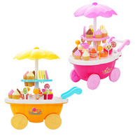 MINOCOOL Children Play House Toys Music Lighting Mini Ice Cream Candy Carts Mini Mart Trolley Baby Kitchen playset Toys