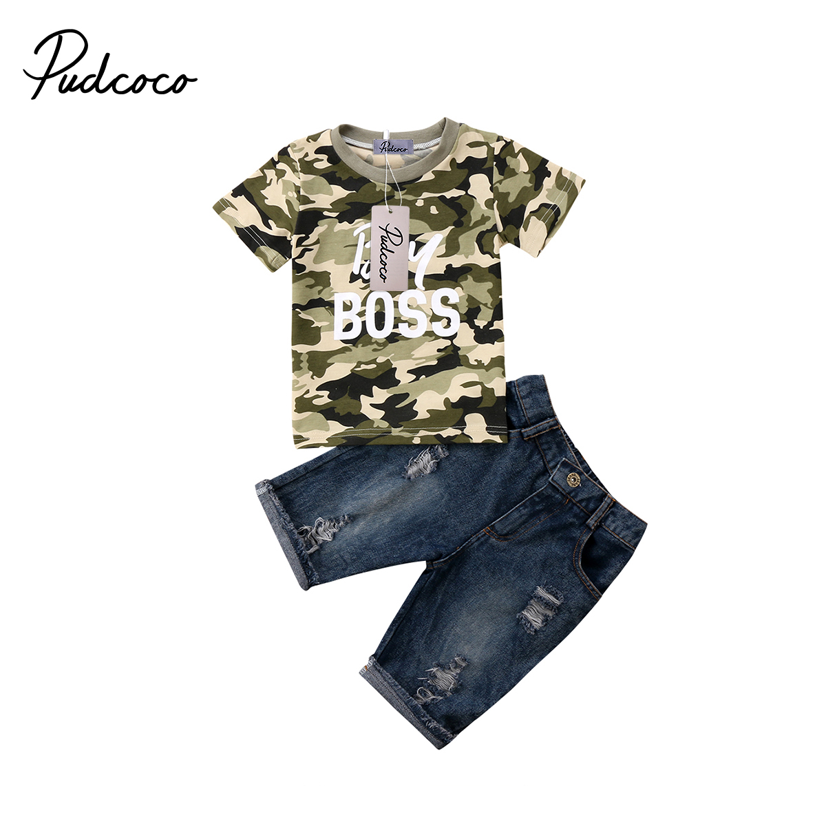 2018 Brand New Toddler Infnat Kid Baby Boy Clothes T Shirt Camo Tops Denim Pants Outfits 2Pcs Set Children Summer Clothing 1-6T