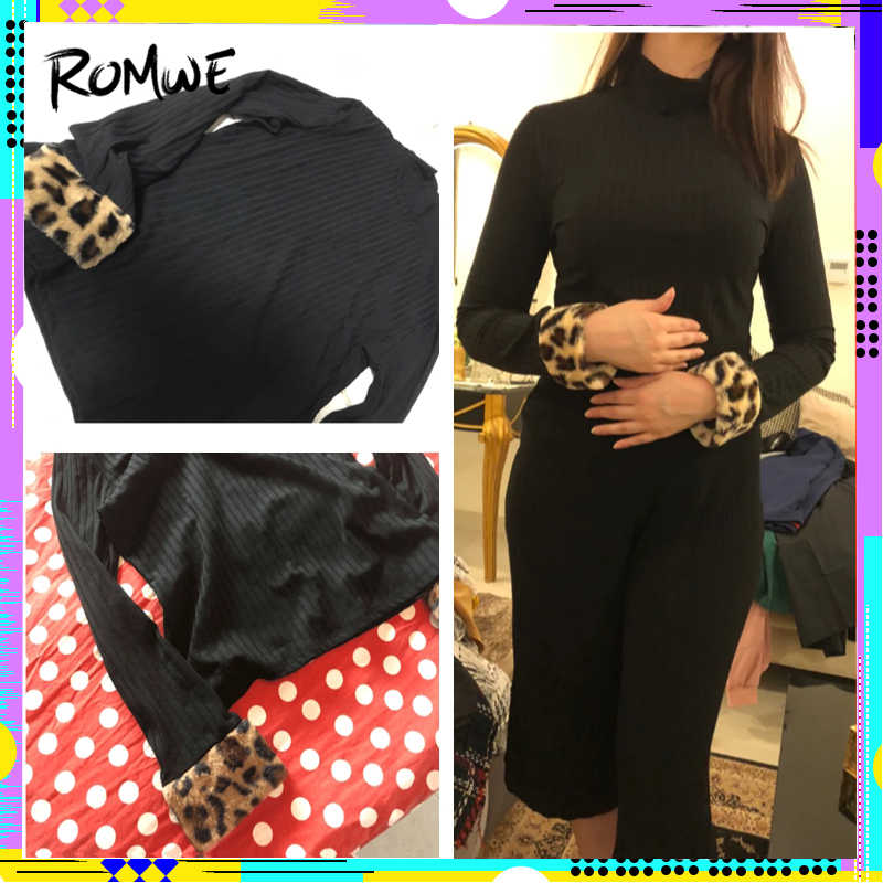 5eaec0a3c5d19 ... ROMWE Slim Fitted High Neck Tee 2019 Black Chic Long Sleeve Leopard  Contrast Faux Fur Shirt