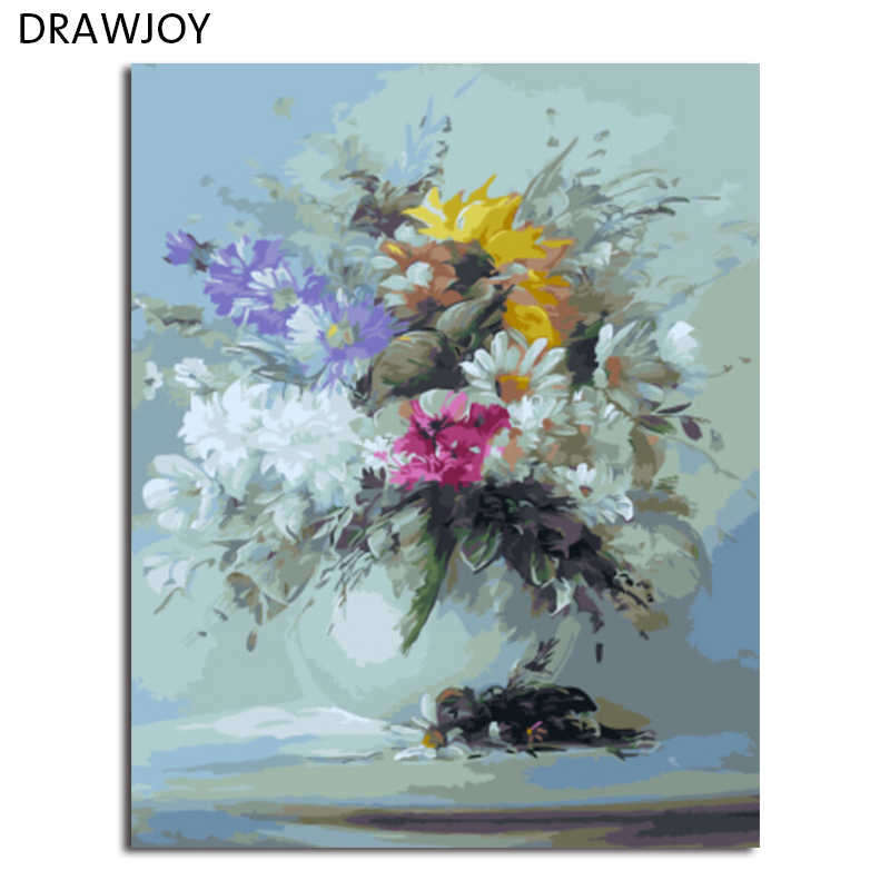 DRAWJOY Flower Framed Picture DIY Painting By Numbers Painting & Calligraphy Home Decoration For Living Room GX5485 40*50cm