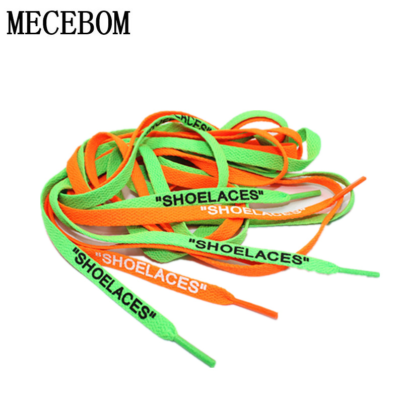 fashion letter printing shoelaces ow signed shoelaces men shoes sneakers personality diy green orange shoelaces 1 pair xd264