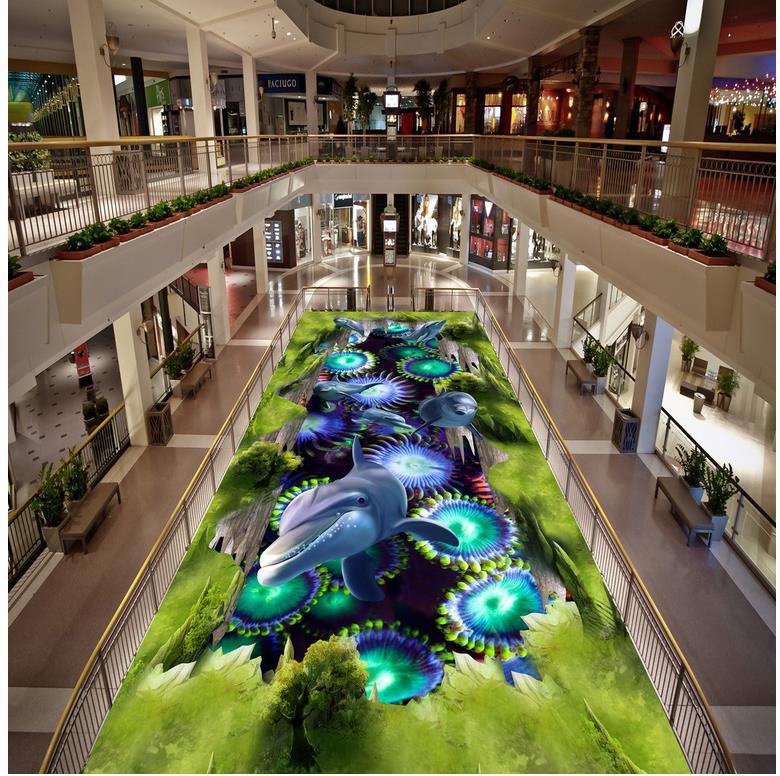 Modern Custom 3D floor mural Underwater dolphin green landscape PVC Wall paper self-adhesive Floor mural