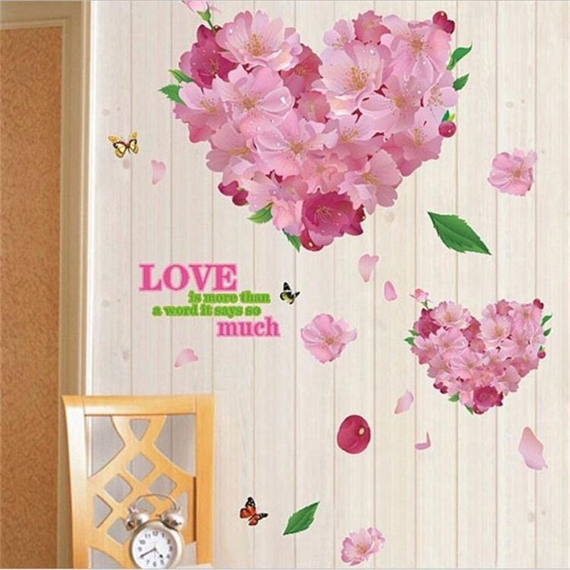 LOVE Heart Elegant Flower Wall Stickers Graceful Peach Blossom birds Wall Stickers Furnishings Romantic Living Room Decoration