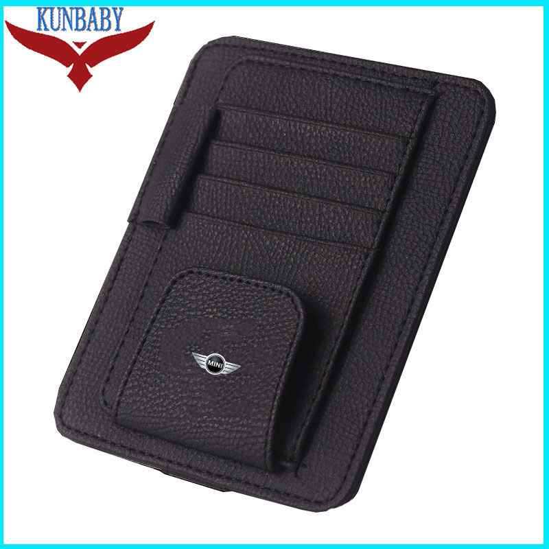 Leather Beige Eye Glasses Card Bill Pen Holder Clip Car Accessory Sun Visor Sunglasses Credit Card Cover For Mini Cooper