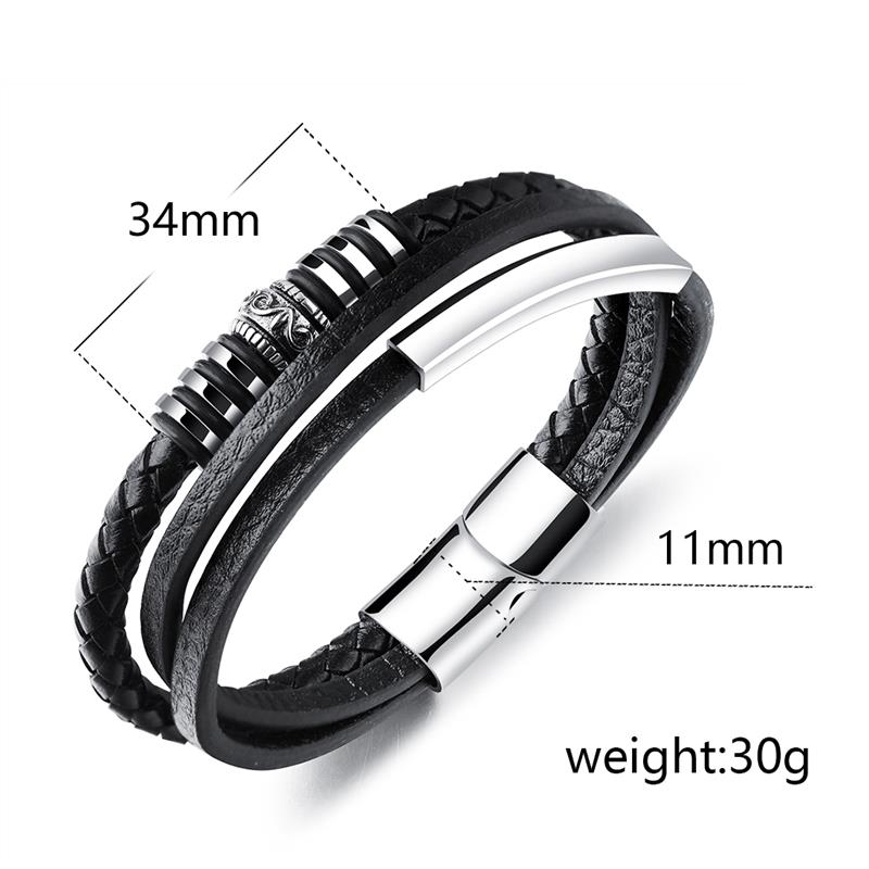 OBSEDE Punk Genuine Leather Bracelets Black & Brown Color Rope Chain Stainless Steel Magnetic Clasp Anchor Design Cool Gifts