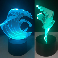 Man surfing 7 Changing Colors 3d illusion night lamp