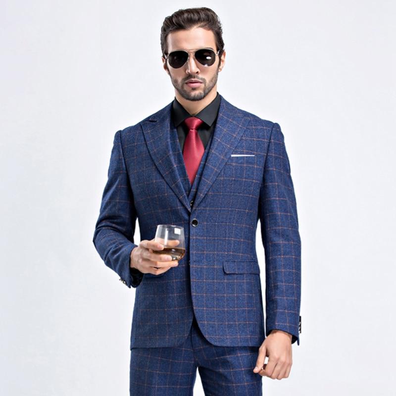 Men's Business Plaid Wedding Grooms Slim Fit Men Dress Suit Dark ...