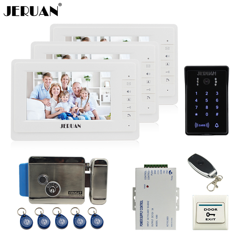 JERUAN 7`` LCD video door phone intercom system Kit 3 monitor brand new RFID waterproof Touch Key password keypad Camera E-Lock jeruan 8 inch tft video door phone record intercom system new rfid waterproof touch key password keypad camera 8g sd card e lock
