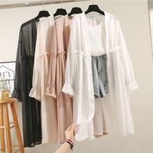 Летняя шифоновая Солнцезащитная одежда для женщин кардиган Длинная блузка Пляжная белая Женская мода Топы Feminino Boho тонкое пальто