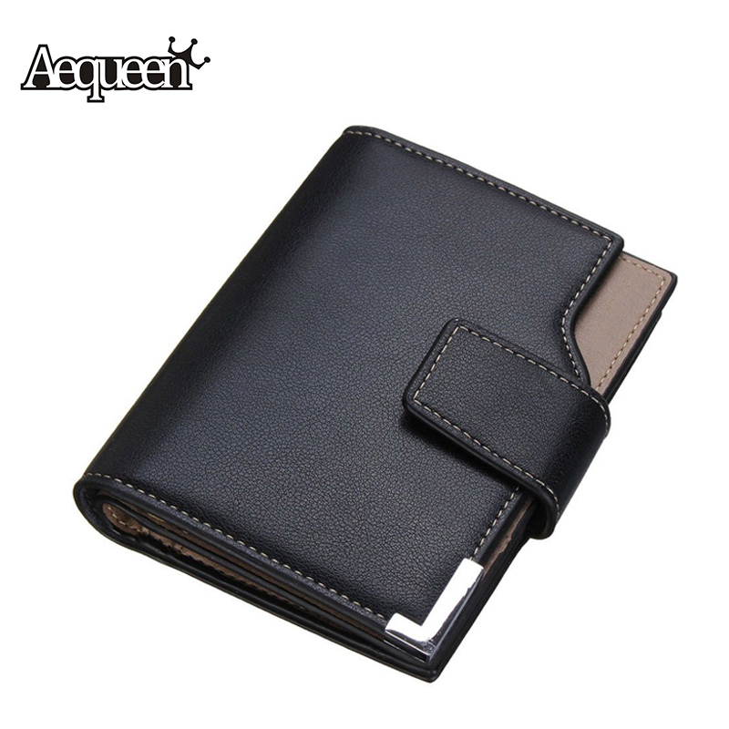 AEQUEEN Men Wallet PU Leather Short Wallets Male Purse Solid 3 Fold Man Wallets ID Card Credit Cards Holder Coin Purses Pouch