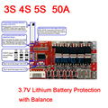 3S 4S 5S 50A WITH Balance 3.7V 18650 Lithium Battery Cell PCB BMS Protection Board Polymer battery Charging protection