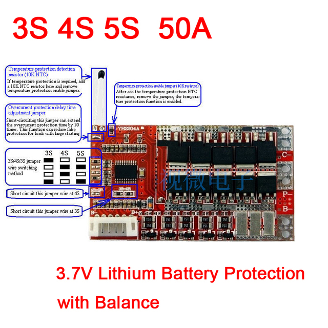 3s 4s 5s 50a with balance 3 7v 18650 lithium battery cell pcb bms3s 4s 5s 50a with balance 3 7v 18650 lithium battery cell pcb bms protection board polymer battery charging protection