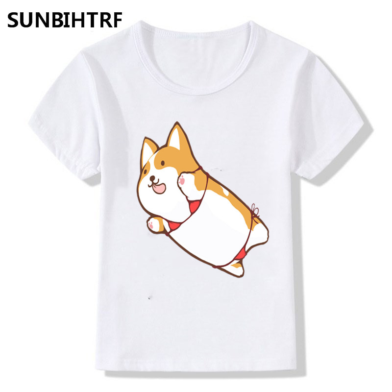 Cute A Small Cat In A Swimsuit Cartoon Design Children Funny Tshirts Big Boys/girls Short Sleeve Tops Tees Summer Casual Clothes