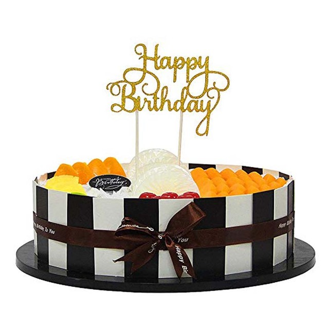 Gold Silver Paper Glitter Happy Birthday Cake Topper For Baby Kids Boys Girls Adult First