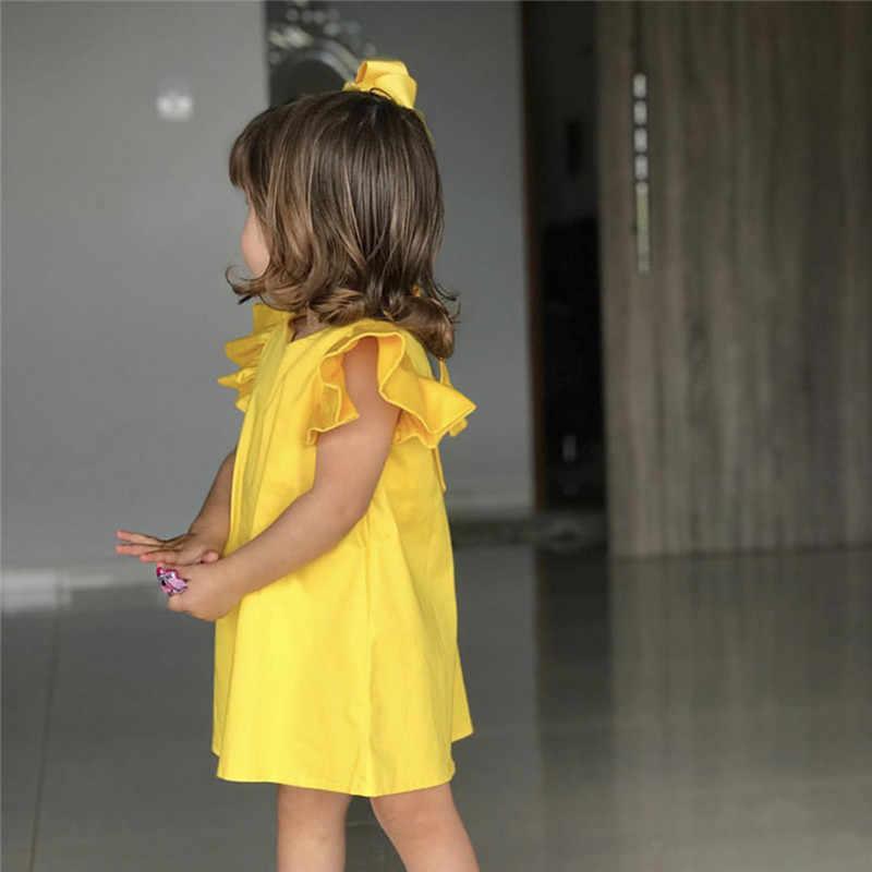 Zomer Baby Baby Meisjes Vliegen Mouw Solide Boog Jurk Kleding Jurken jurk voor meisjes elegante kinderen jurken voor meisjes kostuum kids