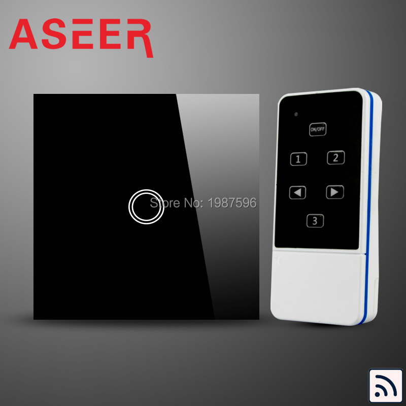 Light With Remote Switch: ASEER,EU Model 1Gang wall touch remote control light switch,RF remote  control light,Lighting