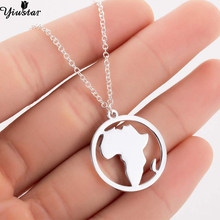 Yiustar Round Shape South Africa World Map Necklace Stainless Steel Vintage Geometric Necklaces Pendants Circle Choker Jewelry(China)