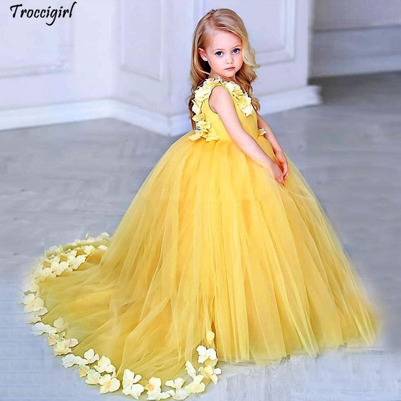 70-1            Yellow Flower Girls Dresses For Weddings V Neck Satin Tulle Petals Floor Length Ball Gown Children Wedding Birthday Party Dresses