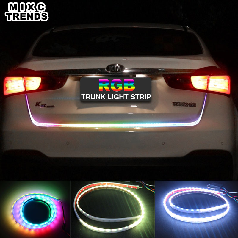MIXCTRENDS NEW 120CM Car Tailgate Turning Signal Light Bar RGB LED Strip Trunk Light Multicolor Braking Reverse Warning Lamp